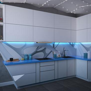 Космический стиль в интерьере кухни. Проект.