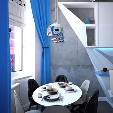 Дизайн-проект кухни. Космический стиль.