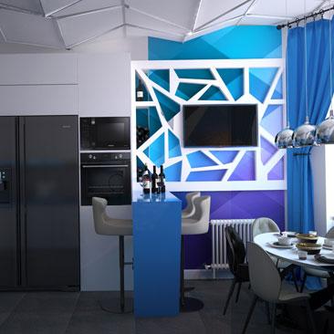 Космические интерьеры: кухня в высотке.
