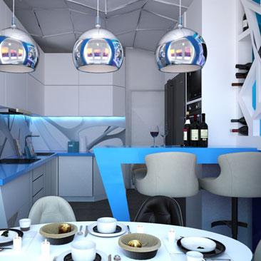 Космический дизайн интерьера. Кухня в квартире.