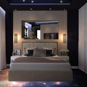 Космическая спальня с парящей кроватью.
