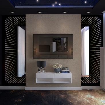Космический дизайн интерьера спальни в квартире.