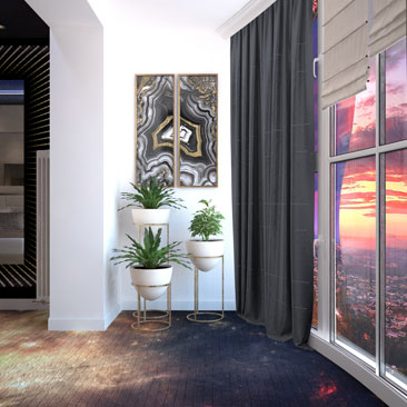 Космическая спальная комната в квартире - дизайн, проект.