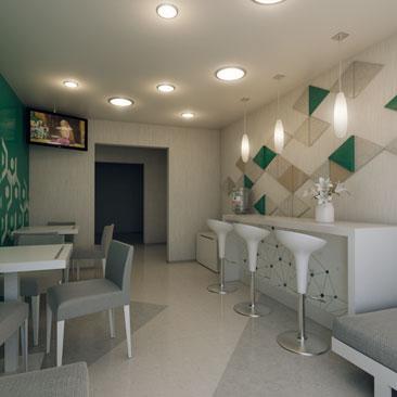 Дизайн интерьера детского клуба. Зона ожидания для взрослых.