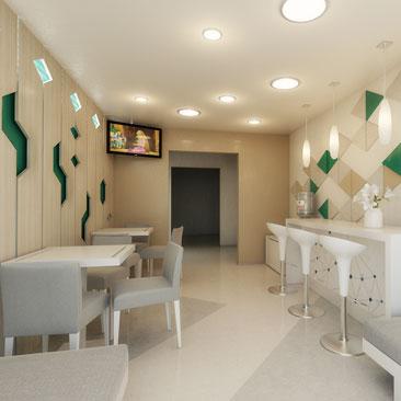 Интерьер, дизайн детского центра развития в современном стиле.