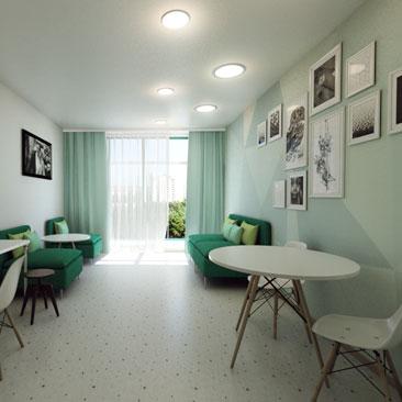 Дизайн комнаты ожидания родителей в детском клубе.