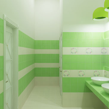 Туалет для детей в детском развивающем центре - проект, интерьер, дизайн.