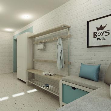 Дизайн гардеробной комнаты в детском развивающем центре.