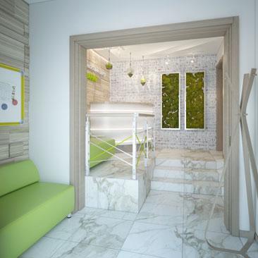Дизайн детского центра — холл и ресепшн.