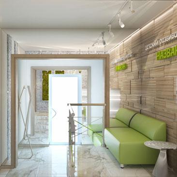 Дизайн холла и ресепшн детского развивающего центра
