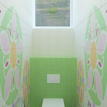Дизайн интерьера детского санузла в детском клубе.