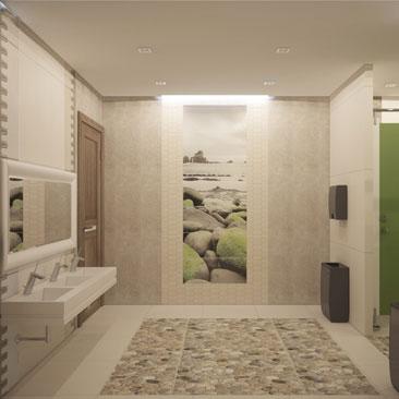 Проект туалета для посетителей в центре детского развития.