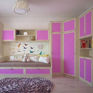 Детская розовая спальня.