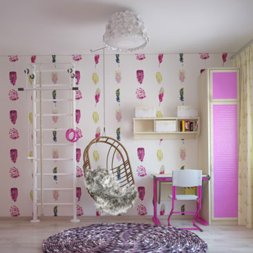 Розовые детские комнаты, детская комната в розовом цвете.