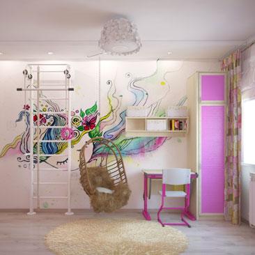 Интересный дизайн детских в розовом цвете.