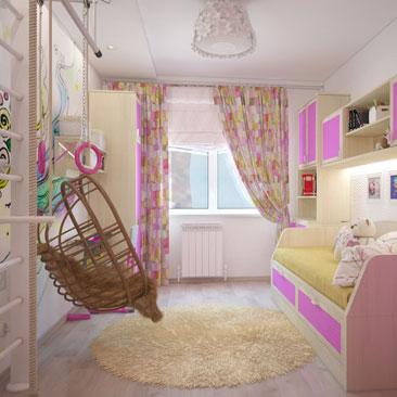 Дизайн детской комнаты для девочки в розовых тонах.