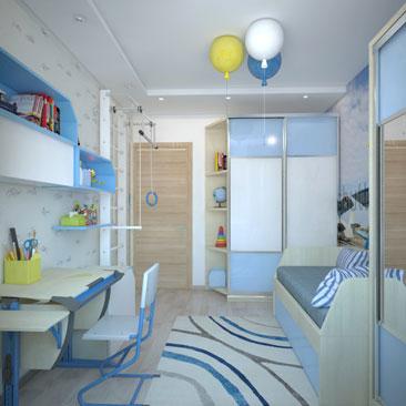 Голубая детская - дизайн проект.