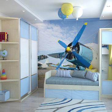 Самолёт в детской комнате. Фото интерьера.