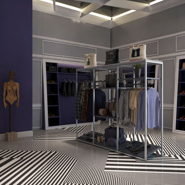 Дизайн маленького магазина женской одежды.