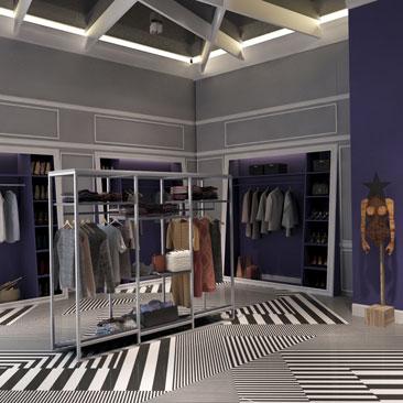 Дизайн магазина женской одежды 40 кв. м. фото интерьера.