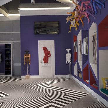 Интерьер магазина женской одежды - идеи с фото.