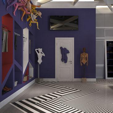 Красивый и интересный дизайн интерьера магазинов одежды.