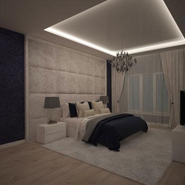 Спальни с тёмно-синими стенами. Фото. Проекты.