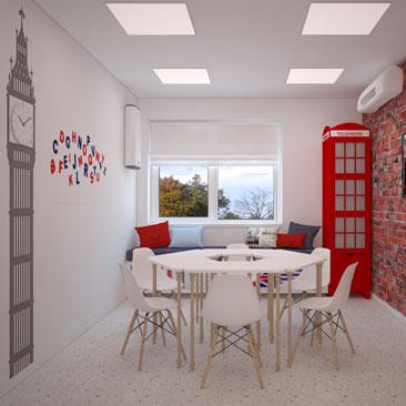 Дизайнерское оформление кабинета иностранного языка.