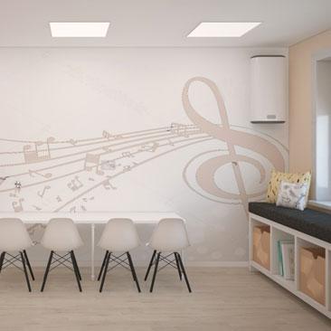 Оформление кабинета музыки - услуги дизайнеров.