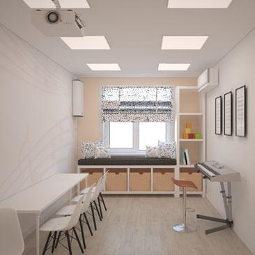 Дизайн музыкального кабинета в частном детском садике.