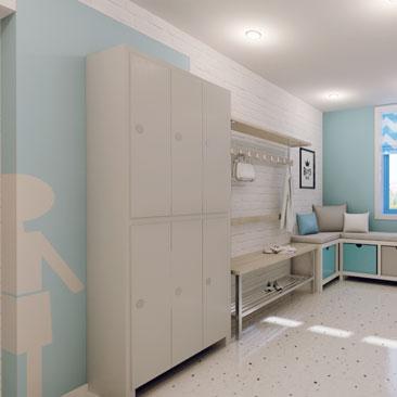 Дизайн интерьера частного детского сада: комната для переодевания для мальчиков.