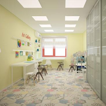 Интерьеры частных детских садов на заказ. Услуги студии дизайна интерьеров и профессиональных дизайнеров, архитекторов.