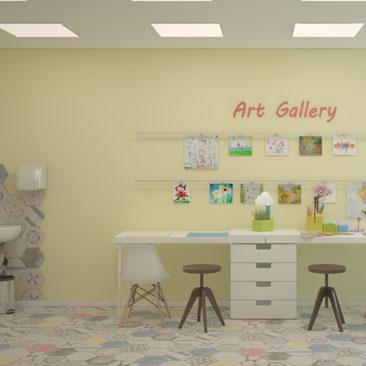 Дизайн интерьера художественного зала в частном детском клубе.