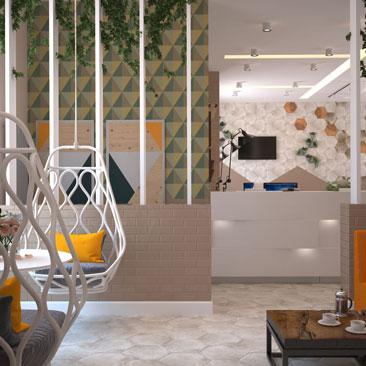 Озеленение офиса – вертикальное озеленение. Проект. Фото.