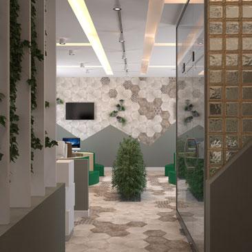 Открытая планировка офиса - дизайн-проект интерьера.