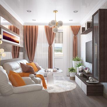 Кожаный диван в дизайне интерьера гостиной.