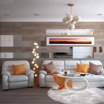 Кожаная мебель в интерьере гостиной - дизайн комнаты - фото.