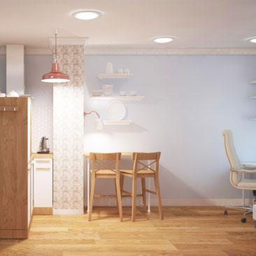 Дизайн кухни-гостиной в современном стиле в двухкомнатной квартире.