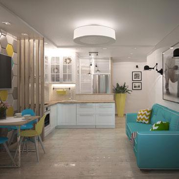 Кухня с диваном - дизайн, проект, интерьер, фото.