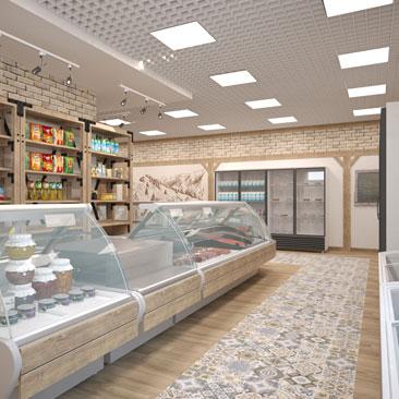 Дизайн продуктовых магазинов под ключ - в Москве и в Воронеже.