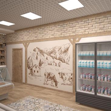 Дизайн мясного магазина, продающий интерьер, фото.