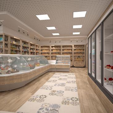 Оригинальный дизайн интерьера мясного магазина.