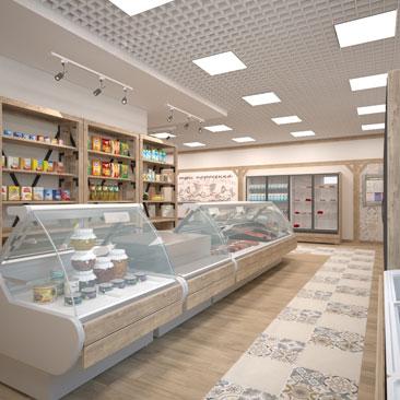 Дизайн магазина продуктов: фото.