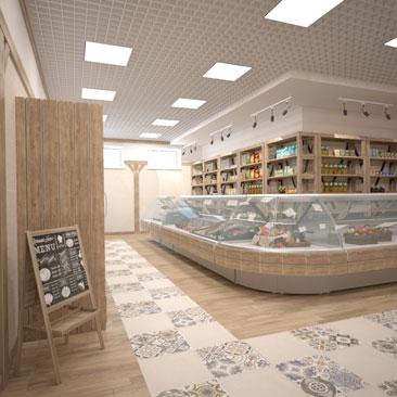 Дизайн интерьера продуктового магазина фото.