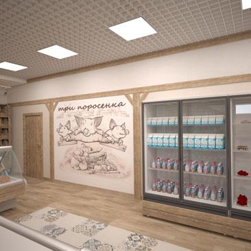 Проекты магазинов продуктов - фото.