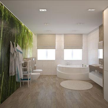 Уютные ванные и туалеты с фотообоями - фото и проекты.