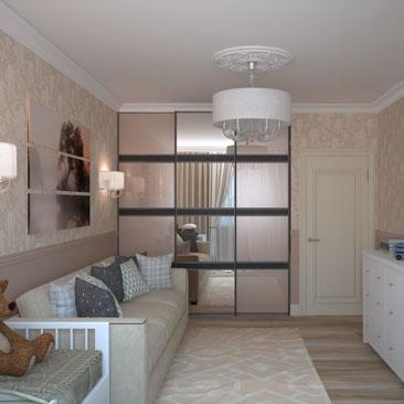 Совмещение детской с гостиной в квартире - интерьер, проект.