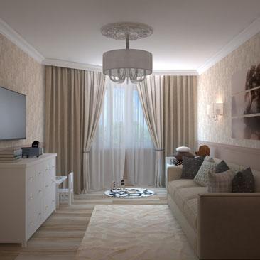 Объединенная гостиная и детская в одной комнате - дизайн-проект.
