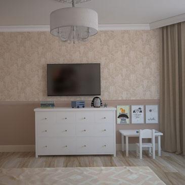 Дизайн зала и детской в одной комнате (фото интерьера).