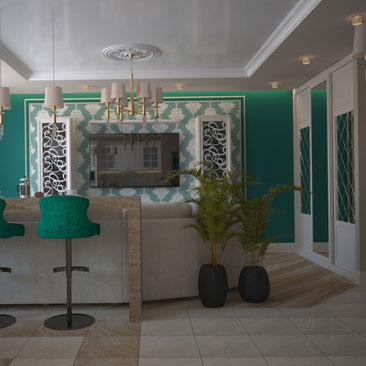 Изумрудный цвет в дизайне гостиной - фото.